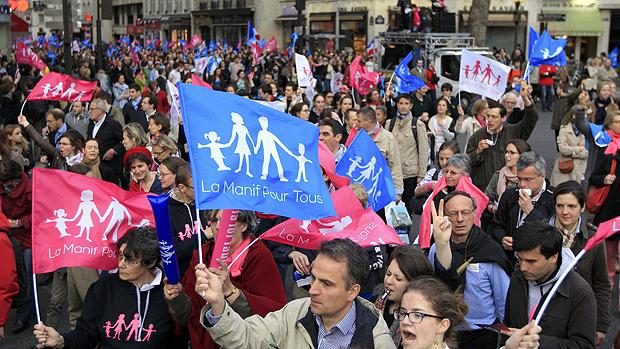 Manifestação contra casamento homossexual, na França