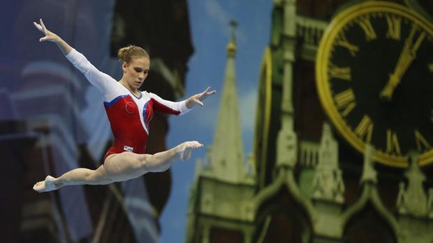 A russa Ksenia Afanasyeva durante prova de qualificação em ginástica artística, em Moscou