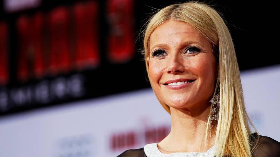 Gwyneth Paltrow, eleita a mulher mais bonita do mundo pela revista People, durante pré-estréia de Homem de Ferro 3, em Hollywood, Estados Unidos