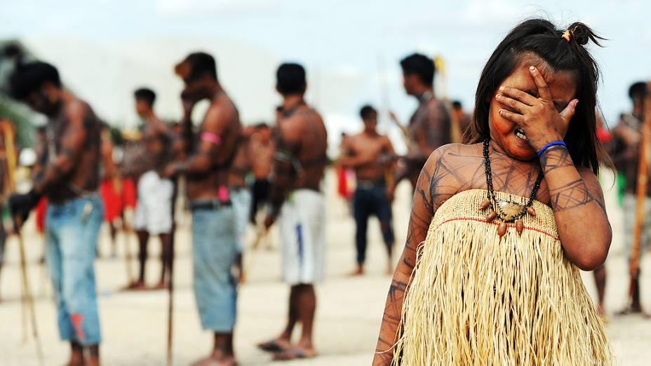 Munduruku nativos em frente ao Palácio do Planalto, em Brasília