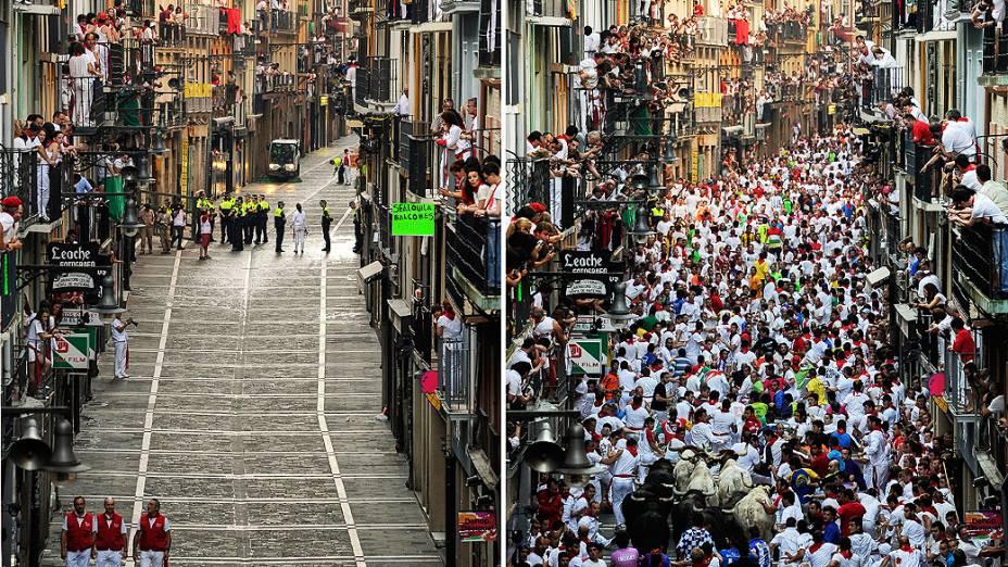 Combinação de fotos mostra movimentação de foliões durante festival São Firmino em Pamplona, Espanha
