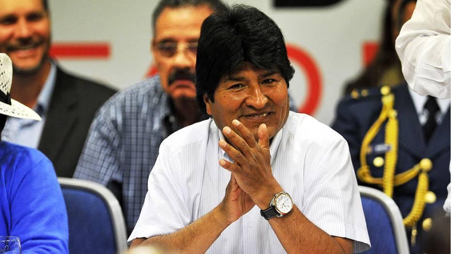 Presidente boliviano, Evo Morales assiste a cerimônia de encerramento do 19º Fórum de São Paulo, uma conferência de partidos políticos de esquerda e de outras organizações da América Latina e do Caribe, em São Paulo