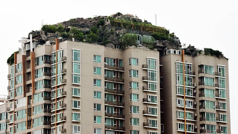 Um excêntrico morador local construiu uma casa em meio ao que parece uma pilha de rochas e árvores no topo de um prédio de 26 andares na capital chinesa. Vizinhos reclamam com medo de que a mansão, com mais de 1.000 m², provoque um desmoronamento