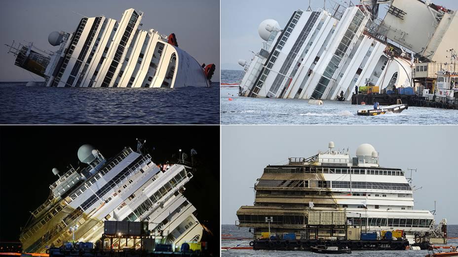 """Sequência mostra navio Costa Concordia que naufragou em janeiro de 2012 sendo """"endireitado"""" no porto de Giglio na Itália durante uma operação chamada """"parbuckling"""""""