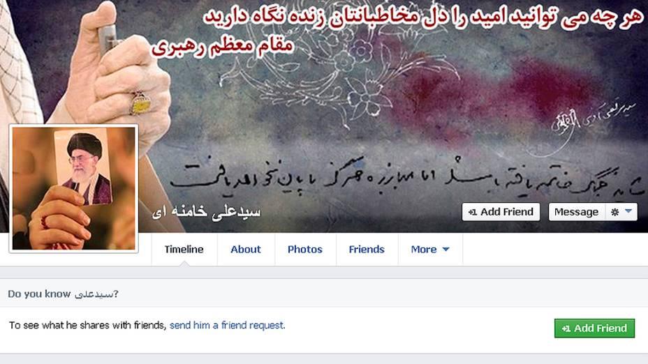 Captura de tela mostra a página do Facebook do líder supremo do Irã, aiatolá Ali Khamenei, após breve abertura devido a problemas técnicos, segundo o governo, o uso rede social voltou a ser bloqueado no país