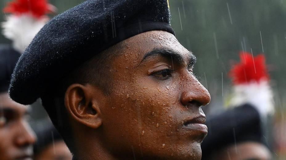 Soldado durante o 64º aniversário do Exército do Sri Lanka