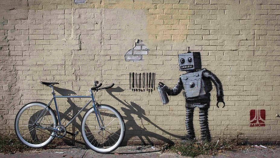 Obra do artista britânico Banksy, fotografada em Coney Island, Nova York