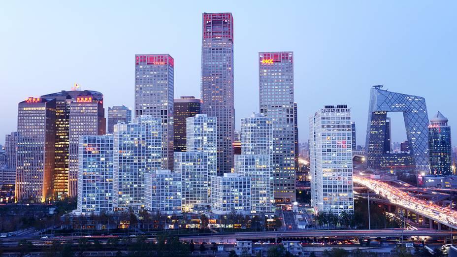 Vista do distrito de negócios da cidade de Pequim, na China