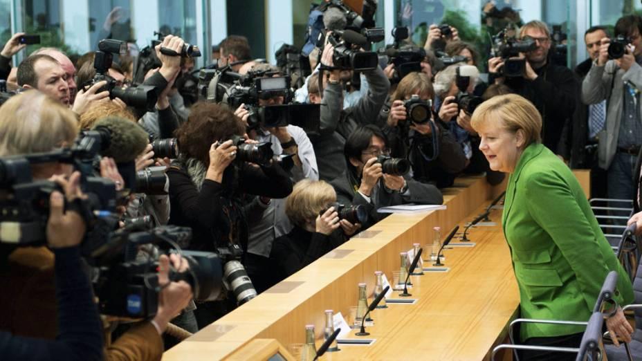 Angela Merkel antes de anunciar coalizão de governo para os próximos quatro anos com o Partido Social-Democrata, na Alemanha