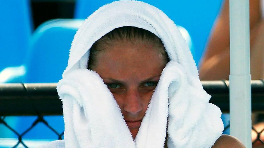 A tenista tcheca Karolina Pliskova durante o terceiro dia do Aberto da Austrália