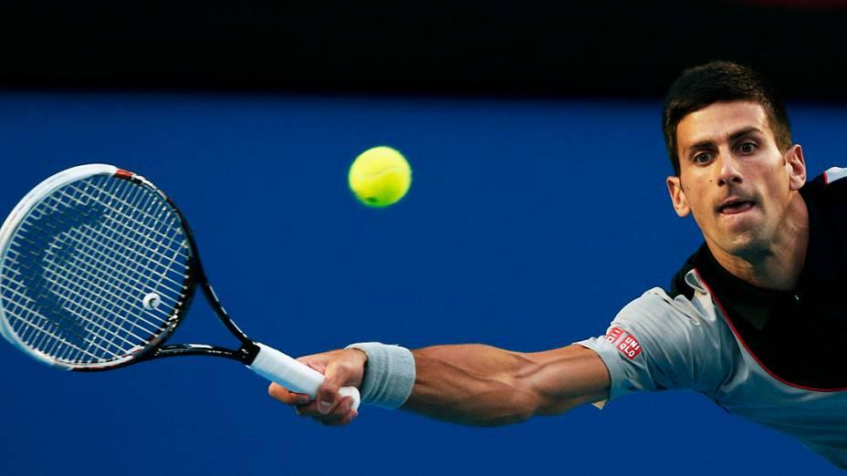 O tenista sérvio Novak Djokovic durante o torneio de tênis de Melbourne, na Austrália, nesta terça-feira (21)