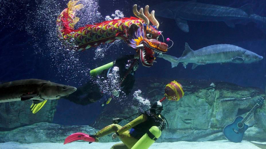 Mergulhadores executam dança do dragão debaixo dágua para acolher o Ano Novo Chinês no Aquário de Pequim