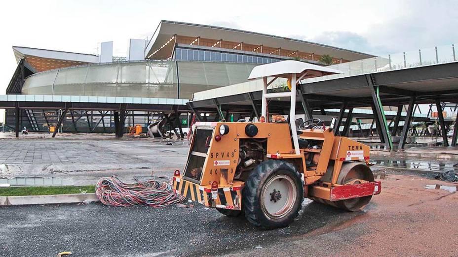 A Arena Pantanal, em Cuiabá, horas antes de seu primeiro jogo, entre Mixto e Santos