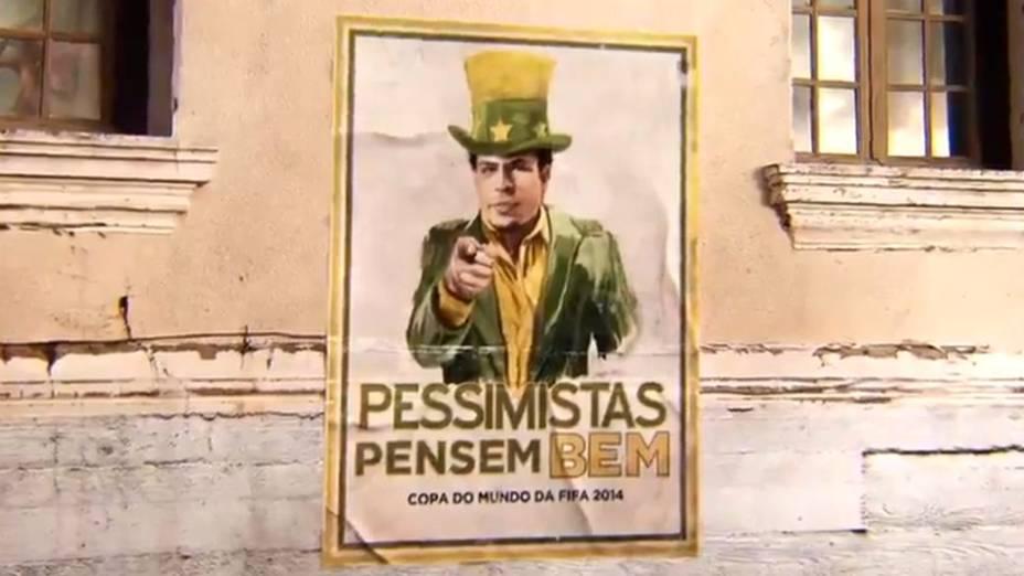 Ronaldo aparece como uma versão brasileira do Tio Sam na campanha da Brahma que condena o pessimismo em relação à Copa. A AmBev é uma das parceiras comerciais do evento