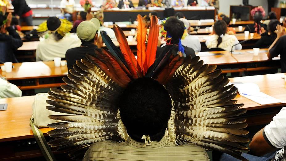 Grupo de indígenas é recebido nesta terça-feira (4) pela Comissão de Direitos Humanos na Câmara, em Brasília