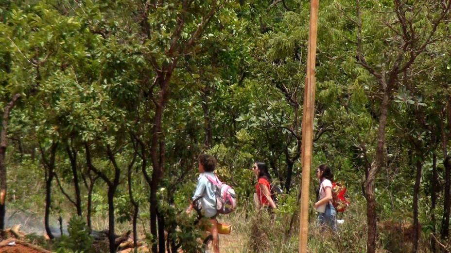 Em meio ao cerrado, jovens caminham para a tribo