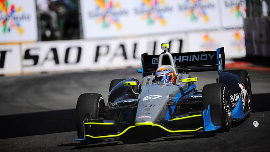 Josef Newgarden durante o treino de classificação da São Paulo Indy 300 neste sábado (04), no Anhembi