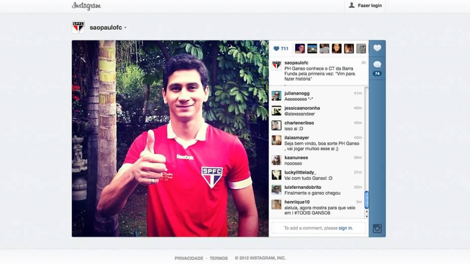 Página do Instagram do São Paulo publica foto de Paulo Henrique Ganso no CT