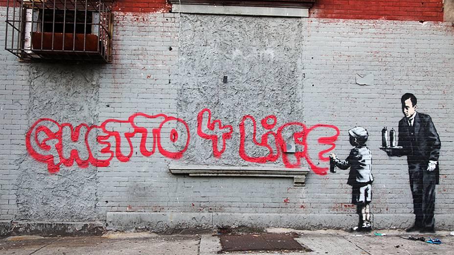 Instalação do artista britânico Banksy no bairro do Bronx, em Nova York