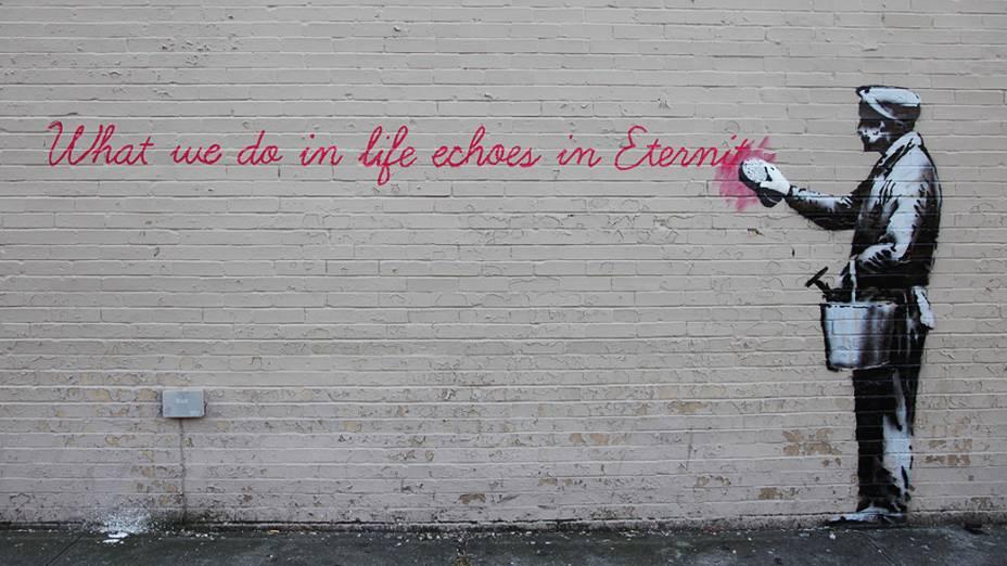 Obra de Banksy intitulada no Queens, em Nova York