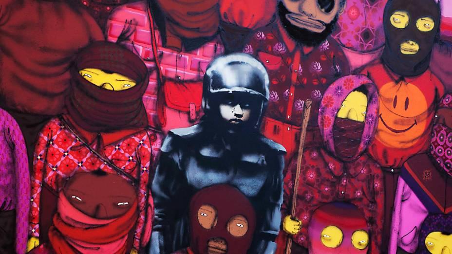 Instalação de Banksy feita em conjunto com Os Gêmeos colocada em uma espécie de galeria aberta em Nova York