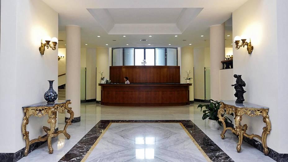 Hall da Casa Santa Marta, residência dentro do Vaticano, que é a residência dos cardeais durante a realização do conclave