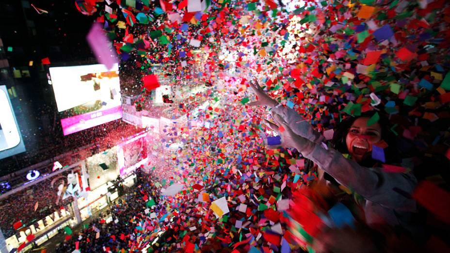 Chuva de confetes durante a comemoração do Ano Novo na Times Square, em Nova York