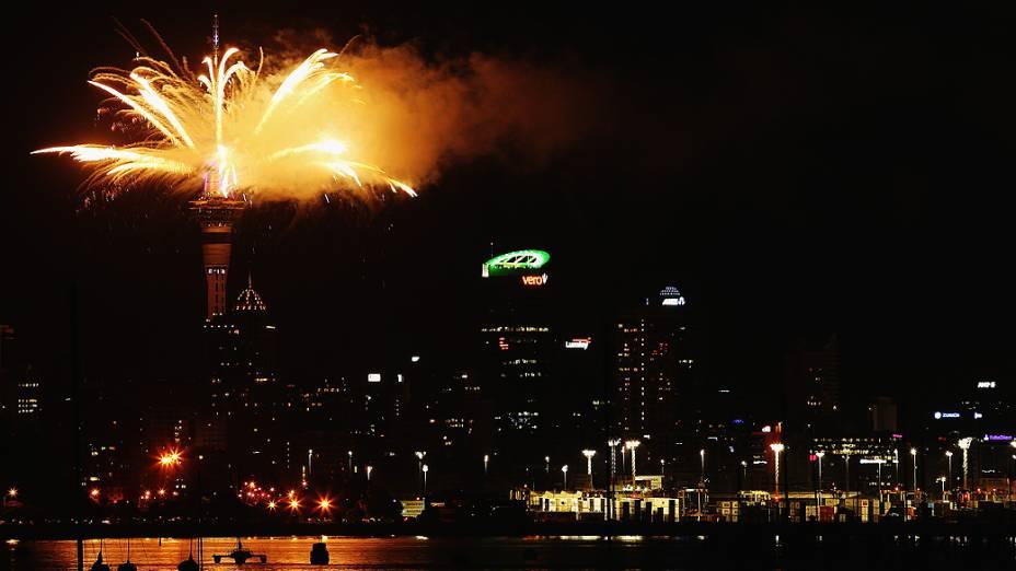 Celebração de Ano Novo em Auckland, na Nova Zelândia