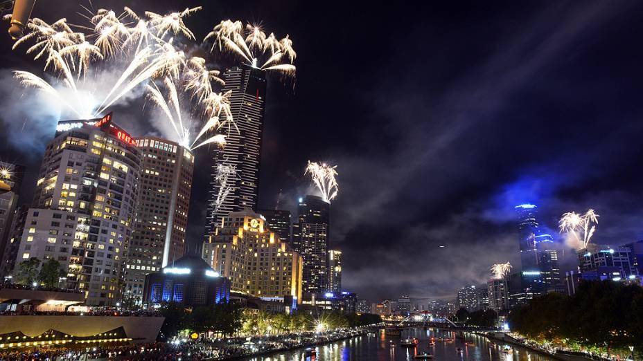Celebração de Ano Novo em Melbourne, na Austrália