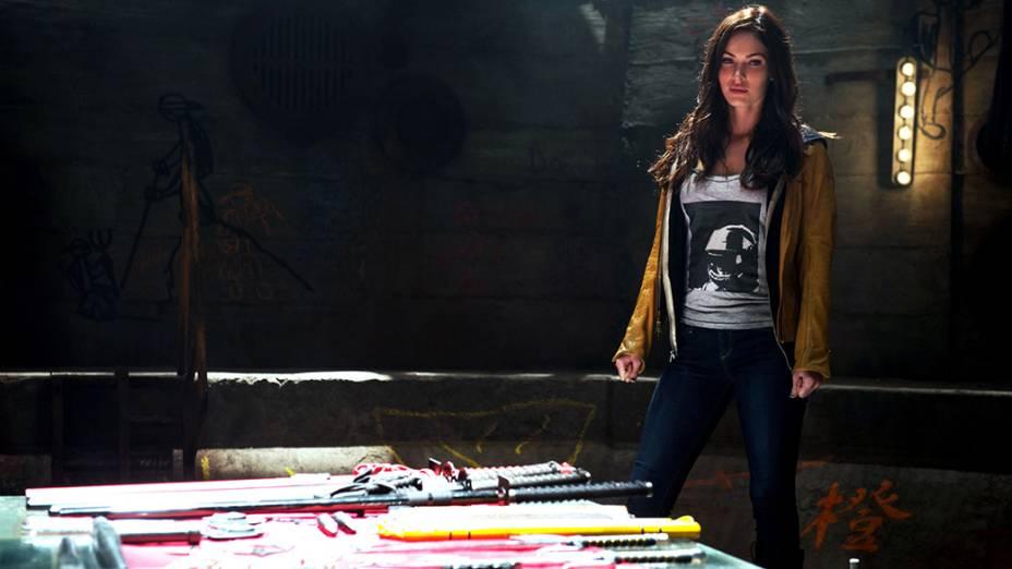 A atriz Megan Fox em cena do filme As Tartarugas Ninja