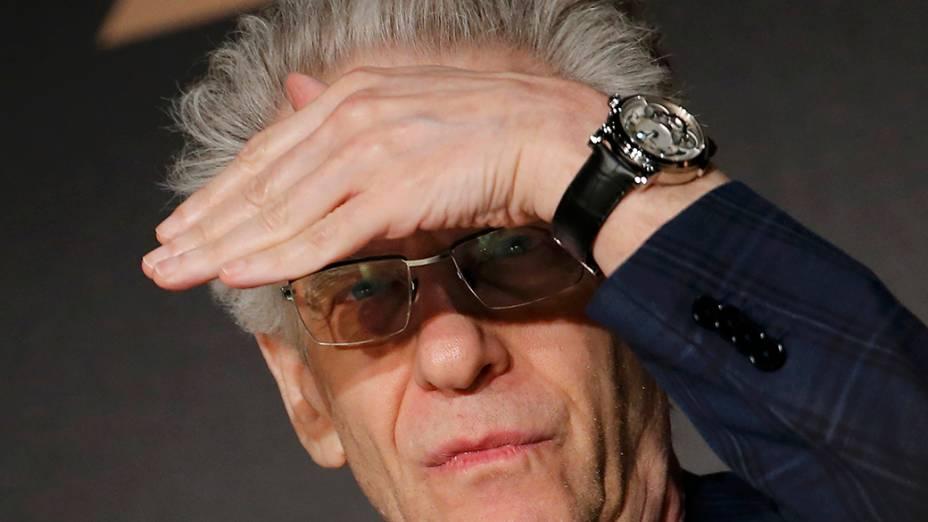 O diretor David Cronenberg durante uma coletiva do filme Maps to the stars em competição no 67º Festival de Cinema de Cannes