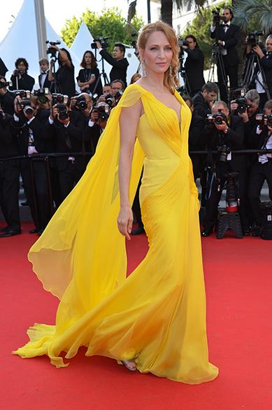 A atriz americana Uma Thurman posa para os fotógrafos durante cerimônia do 67º Festival de Cinema de Cannes, na França