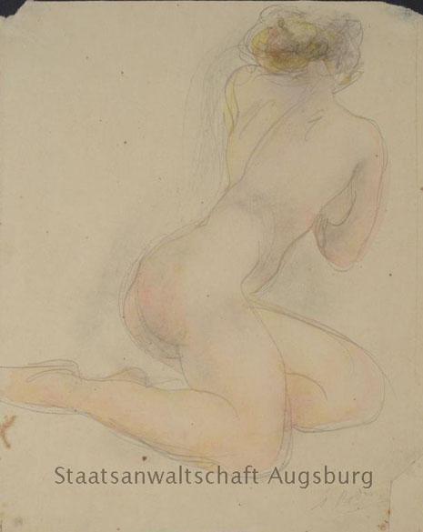 Kneeling Female Nude, de Auguste Rodin, é uma das obras encontradas no tesouro nazista
