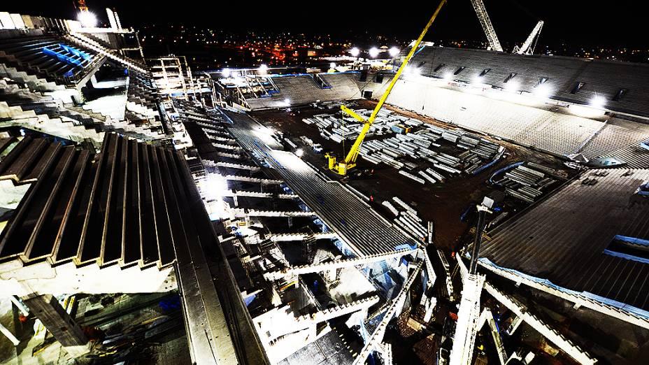 Vista geral da obra do estádio do Corinthians em Itaquera, Zona Leste de São Paulo