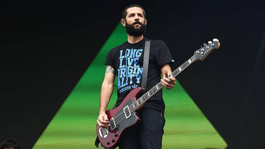 A banda Far From Alaska se apresenta, durante o segundo dia do Festival Lollapalooza 2015, no Autódromo de Interlagos, em São Paulo