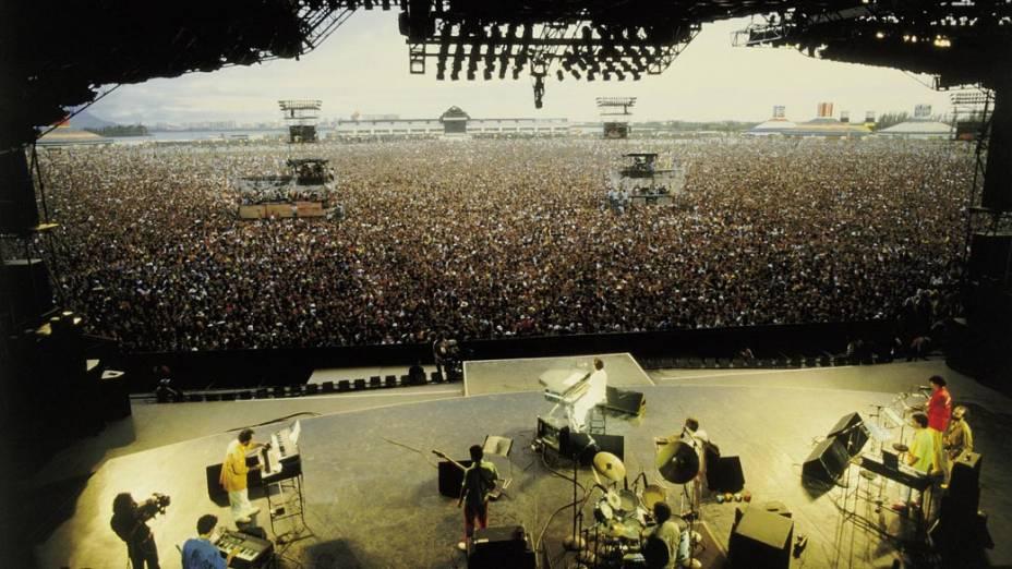 Show de Ivan Lins, cantor e compositor, no Rock in Rio I, 1985<br>