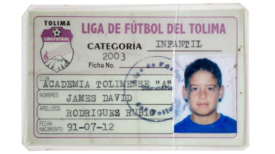 Carteirinha de  James Rodríguez da categoria infantil do Tolima