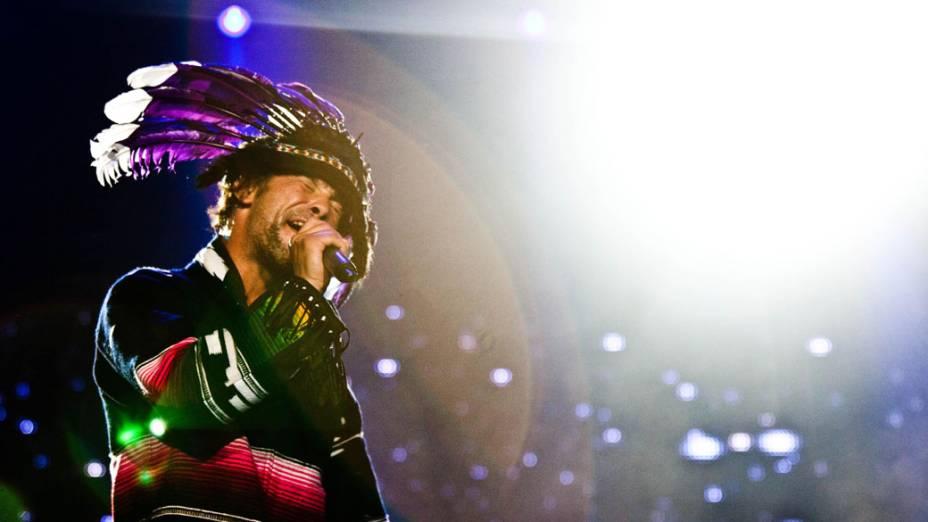 Jay Kay, do Jamiroquai, durante o show no palco Mundo, no quarto dia do Rock in Rio, em 29/09/2011