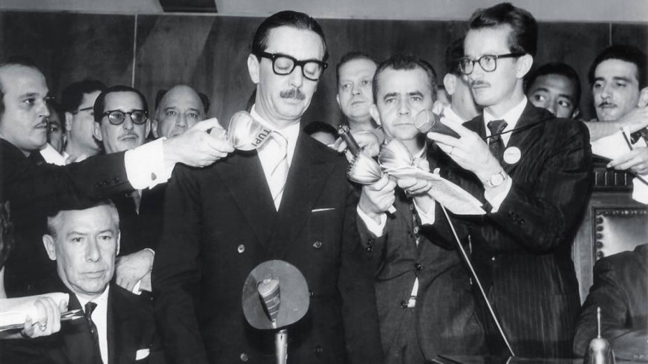 <strong>31 de janeiro de 1961</strong> - Jânio Quadros discursa durante a cerimônia de diplomação no Tribunal Superior Eleitoral