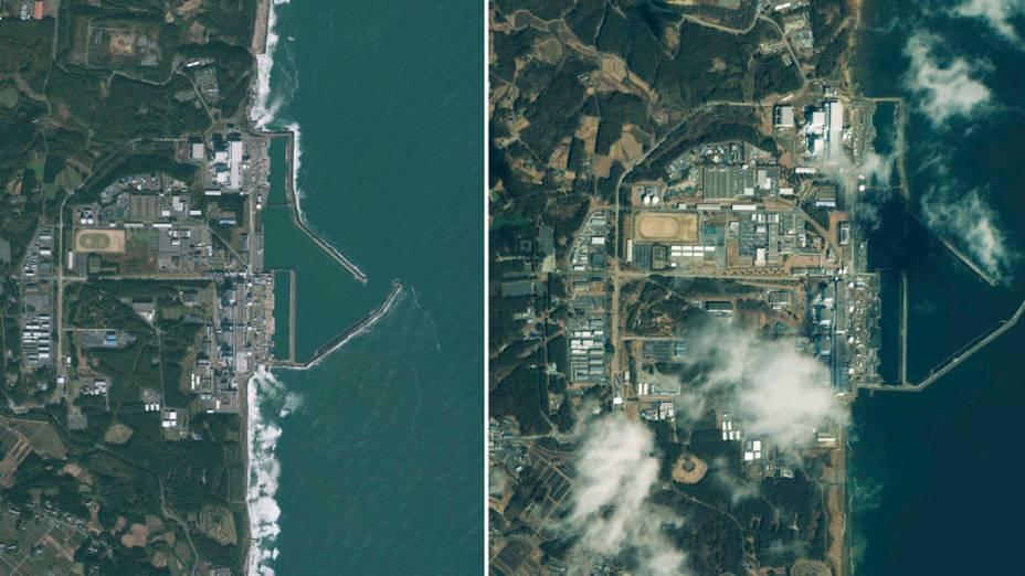 Imagens doe satélite GeoEye-1 mostram a região da usina nuclear de Fukushima antes e depois do terremoto