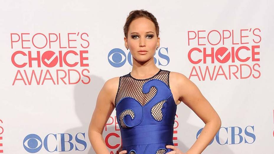 Jennifer Lawrence em coletiva de imprensa durante o  Peoples Choice Awards, nos Estados Unidos, neste ano