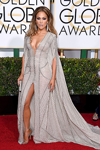Jennifer Lopez durante 72ª edição do Globo de Ouro, prêmio da associação de correspondentes de Hollywood que elege os melhores do cinema e da TV, em Los Angeles, nos EUA