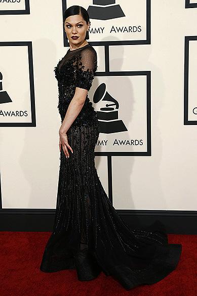 A cantora Jessie J, durante a 57ª edição do Grammy, premiação que elege os melhores da música internacional, que acontece neste domingo (08)
