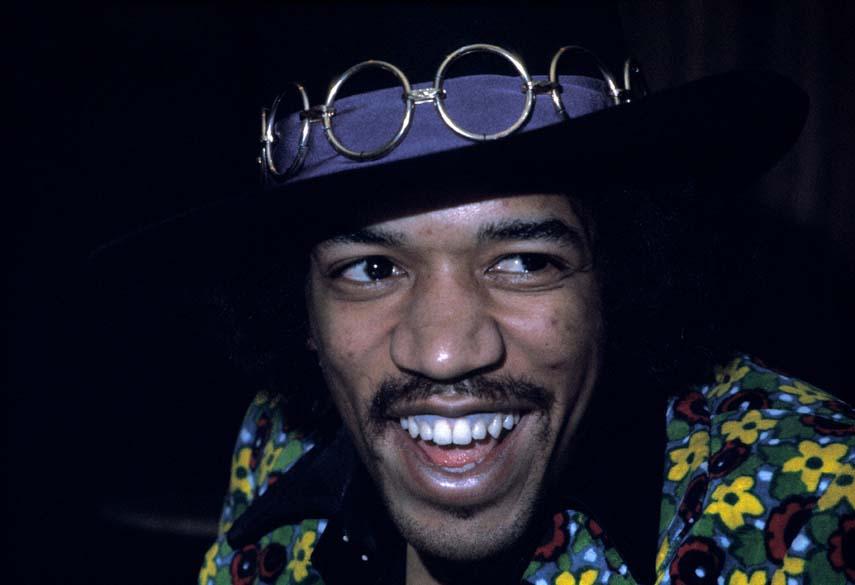Jimi Hendrix em coletiva de imprensa em Nova York, em 1968