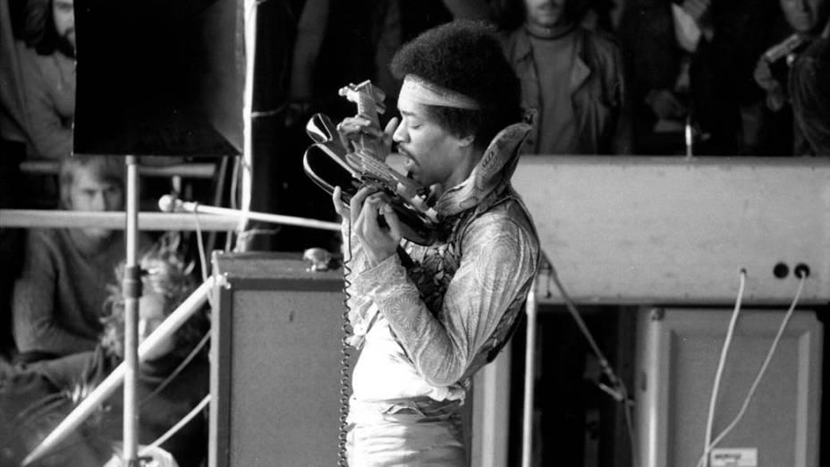 Jimi Hendrix na Alemanha, em setembro de 1970: sua última apresentação