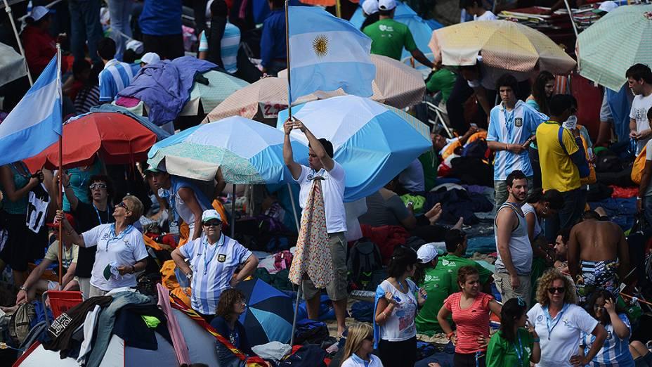 Movimentação na praia de Copacabana durante a Jornada Mundial da Juventude