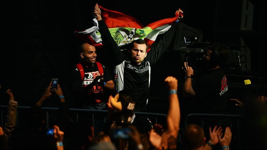 O brasileiro João Zeferino durante a pesagem do UFC Jaraguá do Sul em (SC)