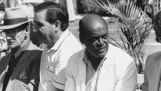 O ex-craque Leônidas da Silva durante evento que comemorou os 40 anos do Estádio do Pacaembu