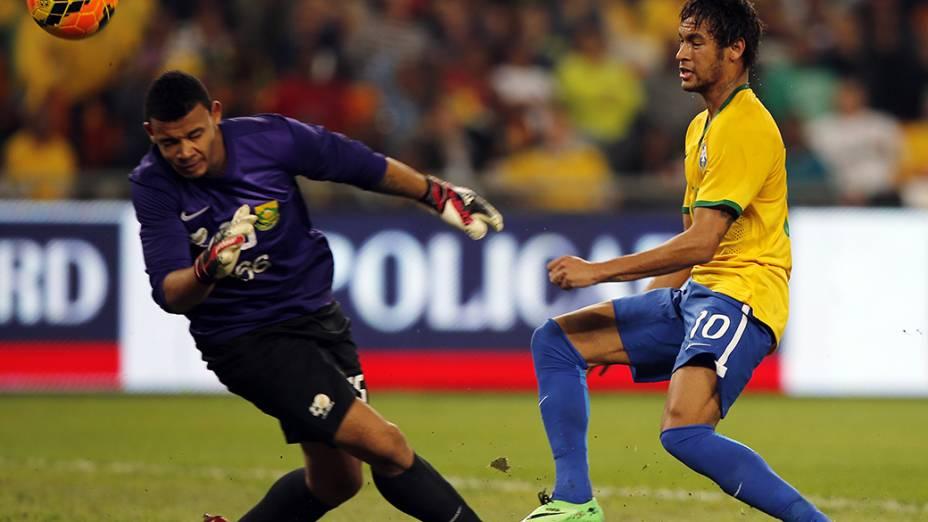 Neymar durante partida contra a África do Sul, em Soweto