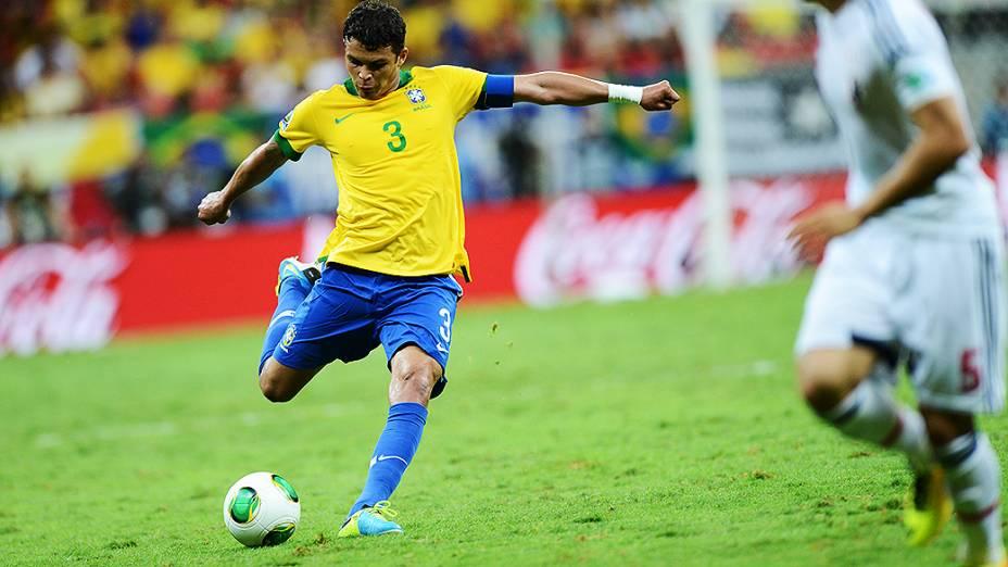 Thiago Silva durante vitória do Brasil contra o Japão na Copa das Confederações, em Brasília